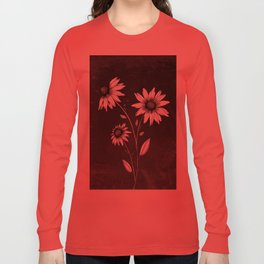Wildflowers Ink Drawing | Black Background Long Sleeve T-shirt