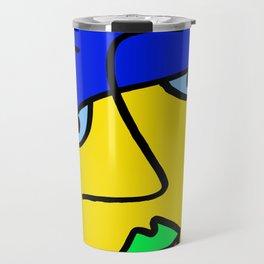 Colored Sad Man's Face Travel Mug