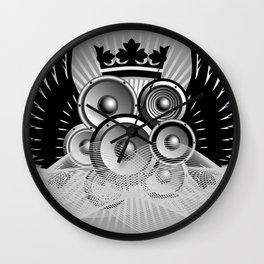 Abstract music illustration with wings Wall Clock