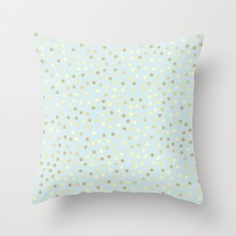 Baby Blue & Gold Polka Dots Throw Pillow