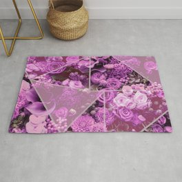 Fantasy flower garden. Delicate blooming elegant bright pink spring flowers design. Lovely glamorous artistic floral and geometrical design. Abstract geometric triangle shapes. Rug