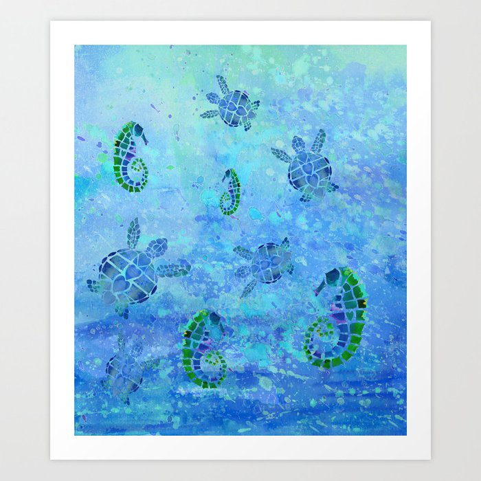 Sea Turtle Batik Art Print