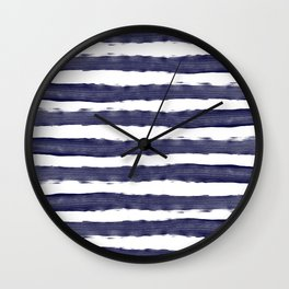 Blue- White- Stripe - Stripes - Marine - Maritime - Navy - Sea - Beach - Summer - Sailor 1 Wall Clock