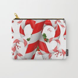 FESTIVE ART RED-WHITE CHRISTMAS CANDY CANES HOLLY BERRIES Carry-All Pouch