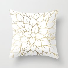 Gold faux foil chic floral elegant pattern Throw Pillow
