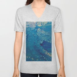 Dazzler - Blue Fluid Acrylic Abstract Unisex V-Neck