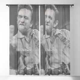 Johnny Cash Flipping the Bird Premium Paper Poster Sheer Curtain