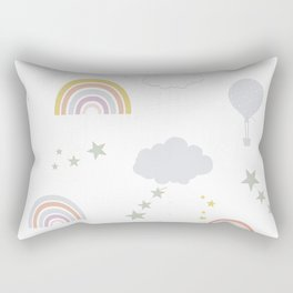 Baby rainbow seamless repeat pattern pastel colored for fabric design  Rectangular Pillow
