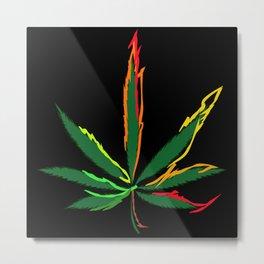 Crazy Marijuana Leaves Metal Print