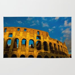 Sunset Over The Roman Colosseum Rug