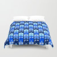 tardis Duvet Covers featuring Tardis by Casual Glitz