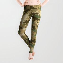 Camouflage Dinosaur Print Olive Green Khaki Tan Leggings