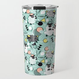 Mééé Memphis sheep // mint background Travel Mug