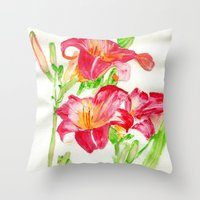 hot pink Throw Pillows featuring Hot Pink by Kate Havekost Fine Art