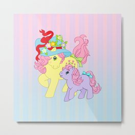 g1 my little pony Posey and baby Ember Metal Print