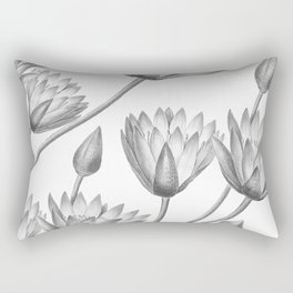 Water Lily Black And White Rectangular Pillow