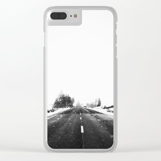 SNOW - WHITE - ROAD - WAY - TRIP - ADVENTURE Clear iPhone Case