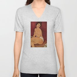 Amedeo Modigliani - Nude Sitting on a Divan Unisex V-Neck