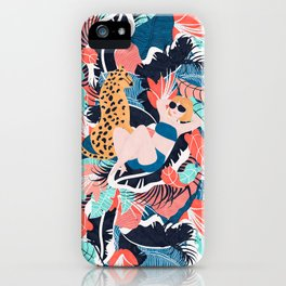 Yellow Hair Tropical Girl with Cheetah iPhone Case