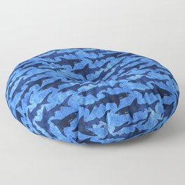 Sharks in the Blue, Blue Sea Floor Pillow