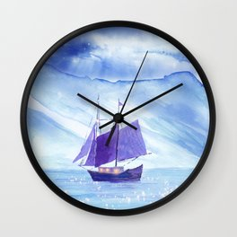 Sailing in Winter Wall Clock
