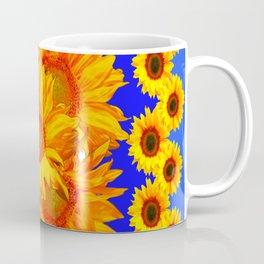 Royal Blue Golden Sunflowers Garden Art Coffee Mug