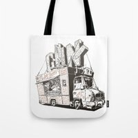 truck Tote Bags featuring Shopping Truck by Mitt Roshin