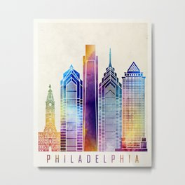 Philadelphia landmarks watercolor poster Metal Print