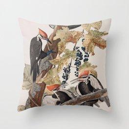 John James Audubon -Woodpecker Throw Pillow