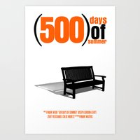 500 days of summer Art Prints featuring 500 Days Of Summer by FunnyFaceArt