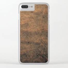 Scratched Suede Tobacco Clear iPhone Case