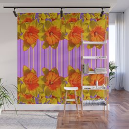 Orange-Yellow Daffodils Lilac Vision Wall Mural