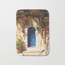 Santorini, Greece, countryside door, blue door Bath Mat