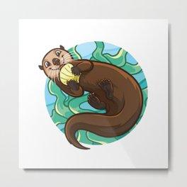 Otter Style Swim Metal Print