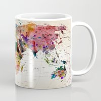retro Mugs featuring map by mark ashkenazi