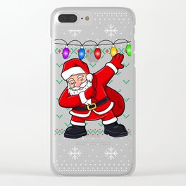 Dabbing Santa Ugly Christmas Sweater Clear iPhone Case