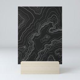 Black & White Topography map Mini Art Print