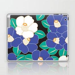 Japanese Style Camellia - Blue and Black Laptop & iPad Skin