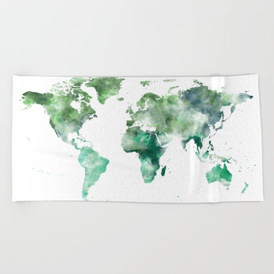 World Map Emerald Green Earth Beach Towel