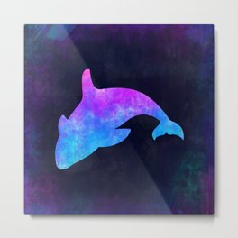 ORCA IN SPACE // Animal Graphic Art // Watercolor Canvas Painting // Modern Minimal Cute Metal Print