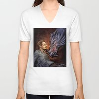 cyrilliart V-neck T-shirts featuring Dragon Series: Liam by Cyrilliart