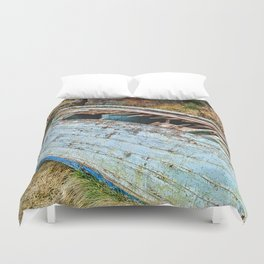 Old Boat in the field Duvet Cover