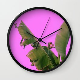 Large Wild Palm Leaves Grow From Tropical Island Ground Wall Clock