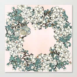 Little bird- merry in the blossoming Canvas Print