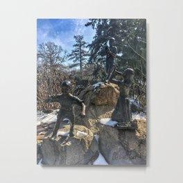Bronze Children Sculpture at Vander Veer Botanical Park Metal Print