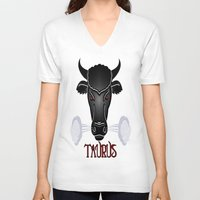 taurus V-neck T-shirts featuring Taurus by LBH Dezines