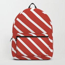 Coral Peach Diagonal Stripes Backpack