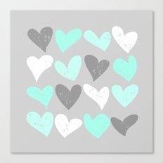 Mint white grey grunge hearts Canvas Print