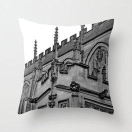 B&W Church Facade Throw Pillow
