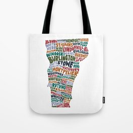 Hand Lettered Vermont City Print Tote Bag